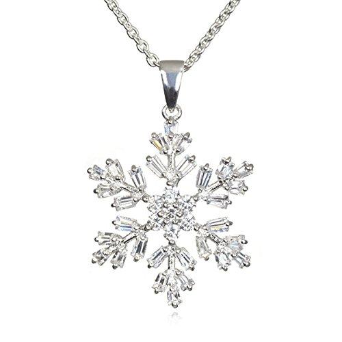 - CHELINE Rhodium Plated Silver White Cz Christmas Snowflake Pendant-18
