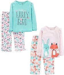 Little Kid and Toddler Girls 4-Piece Pajama Set