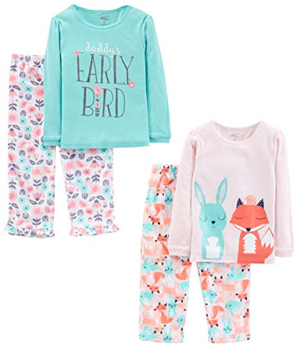 Simple Joys by Carter's Girls' Toddler 4-Piece Pajama Set, Daddy/Fox/Rabbit, 4T -