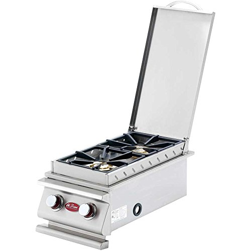 (Cal Flame BBQ14899P BBQ13899P Deluxe Double Side Burner LP W/NG Conversion KIT,15,000 BTU, Stainless Steel, Wok Cooking with Removable Cover.)