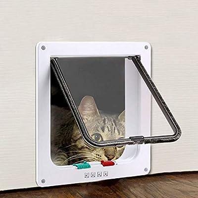 Mysida Cat flap door Puerta for Gatos, Puerta de Aleta magnética for Mascotas de 4 vías con Cierre Giratorio for Exterior Interior, Compatible con Gatos Adultos y Perros pequeños (Size : M):