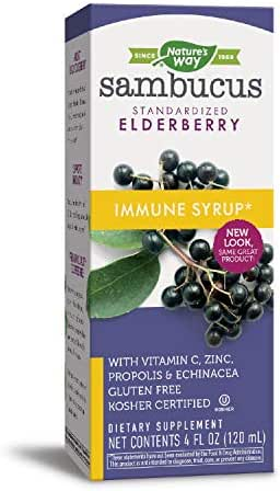 Nature's Way Sambucus Immune Elderberry Syrup, Herbal Supplements with Echinacea, Zinc, and Vitamin C, Gluten Free, Vegetarian, 4 Ounce (Packaging May Vary)