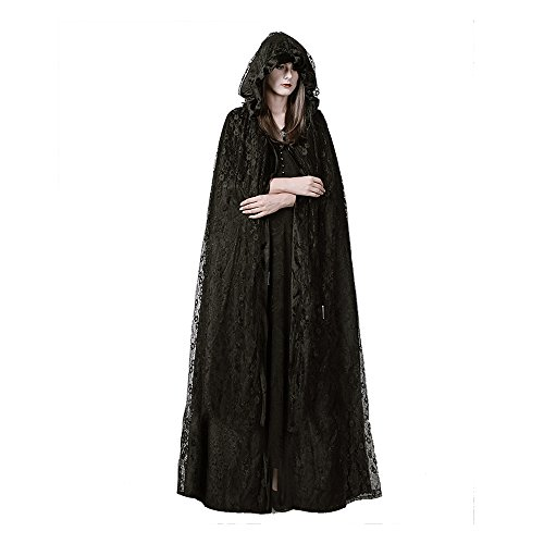 Steel master Steampunk Womens Witch Cape Black Hooded Lace Long Coat Holloween Costume