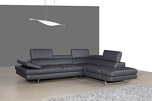 J&M Furniture A761 Italian Leather Sectional Slate Grey in Right Hand Facing