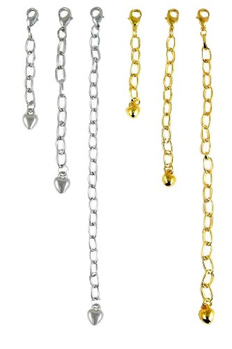 - Necklace Bracelet Extender Gold & Silver Tone (6 Pcs) (F210)