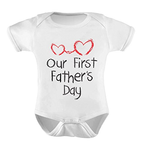 Our First Father's Day - Daddy and Me Cute Infant Baby Bodysuit 12M White