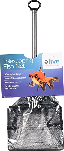 Elive Extendable Telescopic Fish Net, Soft Cleaning Mesh Net for Aquarium or Fish Tank, 4 Inch Net, 7-16 Inch Handle Length by Elive