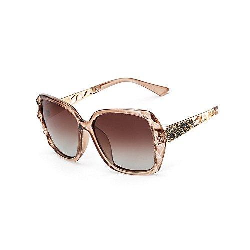 cuadrado rizadas sol de gafas decoración la mujeres de las sol de sol cristal de sol de Gafas para las de de sol marco polarizadas Gafas señor del del Marrón Gafas la de Protección Gafas ULTRAVIOLETA frescas Rnxa5qn