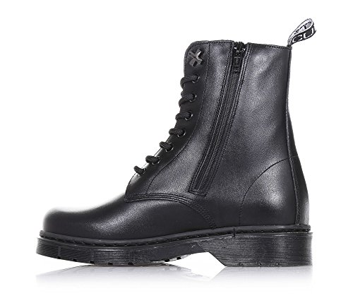 of zipper boot lace Girl applications lateral decorative sole up Black leather Black Girls visible metal stitching with rubber made Child and CULT nzXgtqHx