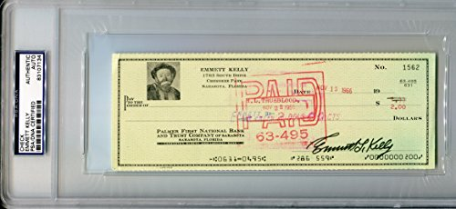 EMMETT KELLY SR Signed Personal Check Weary Willie Sad Hobo Clown PSA/DNA Slabbed