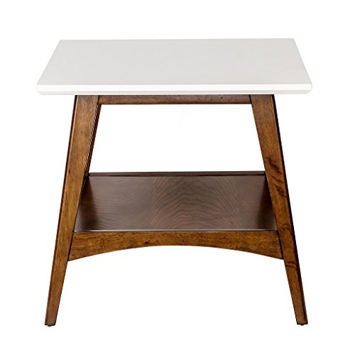 Mid Century Modern Accent End Side Table in White and Pecan Wood Finish ()
