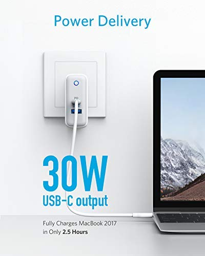 USB C Charger, Anker PowerPort II, UL Certified 49.5W Wall Charger with Foldable Plug, One 30W Power Delivery Port for MacBook, iPhone X/8/8 Plus, PowerIQ 2.0 for S9/S9+/S8/S8+ and More