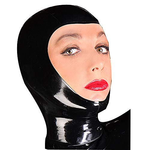 100% Natural Latex Unisex Sexy Rubber Party Hood Mask Open Face Holiday Party Unique Wear New (L) Black