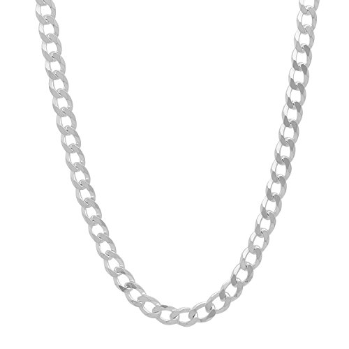 """925 Sterling Silver Nickel-Free 4.5mm Curb Link Chain Necklace Made in Italy, 20"""" + Cleaning Cloth"""