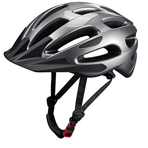 KUYOU Adult Cycling Bike Helmet with Adjustable Ultralight Stable Road/Mountain Bike Cycle Helmets for Mens Womens (Black+Gray)