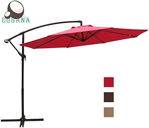 COBANA 10 Ft Patio Cantilever Offset Market Hanging Outdoor Umbrella with Crank Lift Cross Base, Red