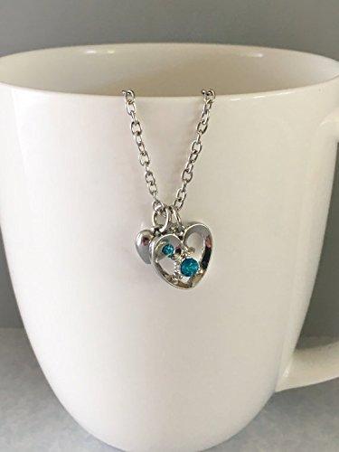 December Blue Zircon Birthstone Heart Pendant Necklace