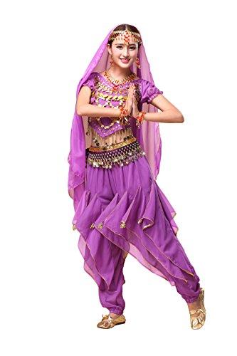 Feimei Woman Exotic Jasmine Belly Dance Costume Set with Halter Top and Harem Pants (Jasmine Halloween Pants)