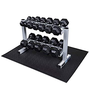 Powerline by Body-Solid 2-Tier Horizontal Dumbbell Rack with Rubber Hex Dumbbells PDR282X-RFWS