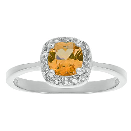 1.10 Ct Cushion Yellow Citrine and White Topaz 925 Sterling Silver Ring Size 5