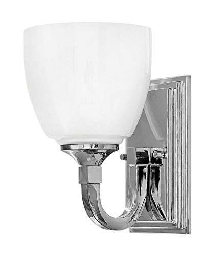 Hinkley 5600CM Transitional One Light Bath Wall Sconce from Faye collection in Chrome, Pol. Nckl.finish, (Chrome Sconce Hinkley)