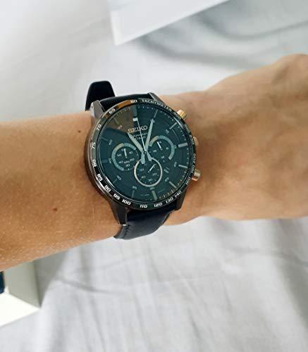 Seiko herr kronograf kvartsur med läderarmband SSB361P1