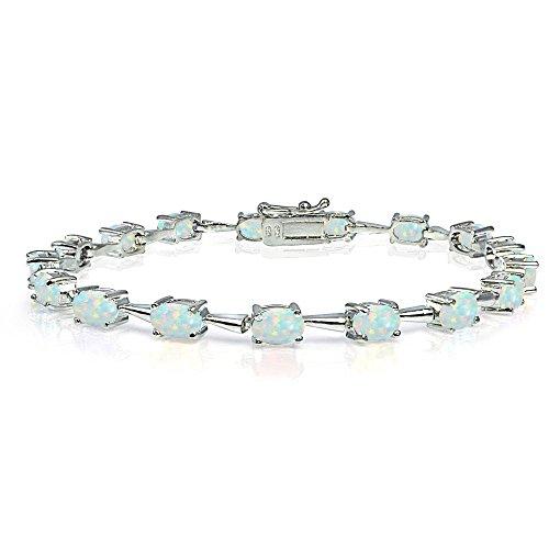 Bracelets Oval Opal (Sterling Silver Simulated White Opal 6x4mm Oval Classic Link Tennis Bracelet)