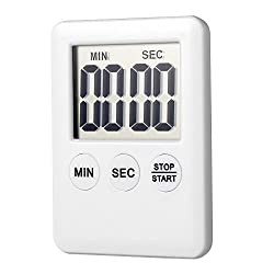 Kitchen Timer, Home Cooking Magnetic Digital LCD Clock Alarm Count Up Down Timer (white)