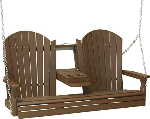 Furniture Barn USA Poly 5 Foot Porch Swing – Adirondack Design – Chestnut Brown Color For Sale