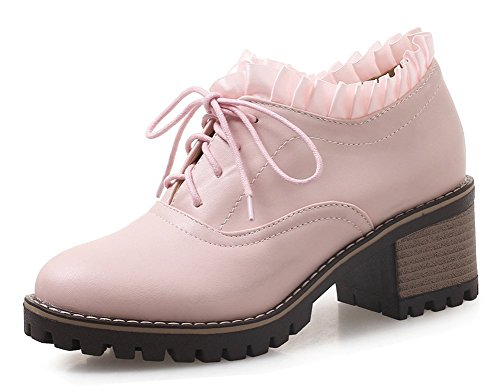 Mofri Women's Sweet Round Toe Low Top Lace up Block Medium Heel Oxfords Shoes (Pink, 7 B(M) -