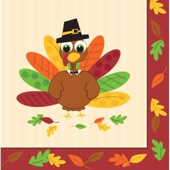 Thanksgiving Turkey Fun Lunch Napkins 16 Per Pack (Lunch Napkins Thanksgiving)