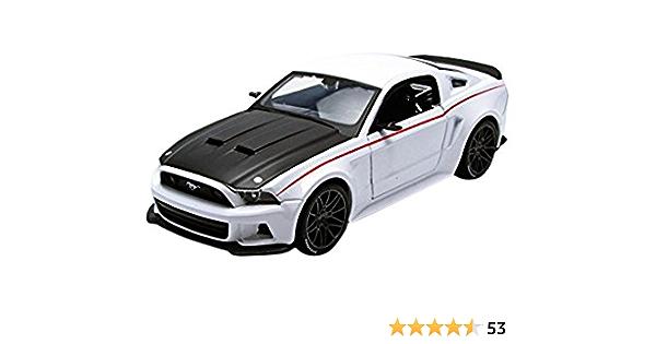 YaPin Model Car Uno y veinticuatro 2014 Ford Mustang GT modelo de velocidad est/ática del coche Simulaci/ón aleaci/ón coche regalo regalo de cumplea/ños 2014 Mustang GT de plata raya azul