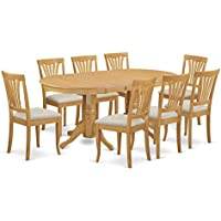 East West Furniture VAAV9-OAK-C 9-Piece Dining Table Set