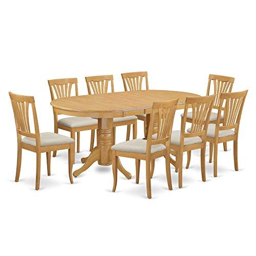 East West Furniture VAAV9-OAK-C 9-Piece Dining Table Set (Solid Oak Dining Table)