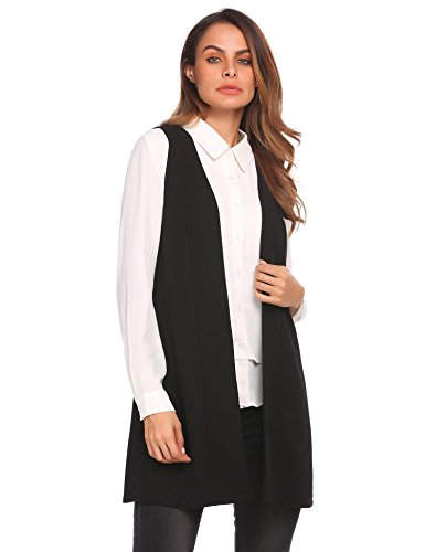 Zeagoo Women Solid V-Neck Sleeveless Slim Waistcoat Long Suit Vest Black Plus Size (Black Long Vest)