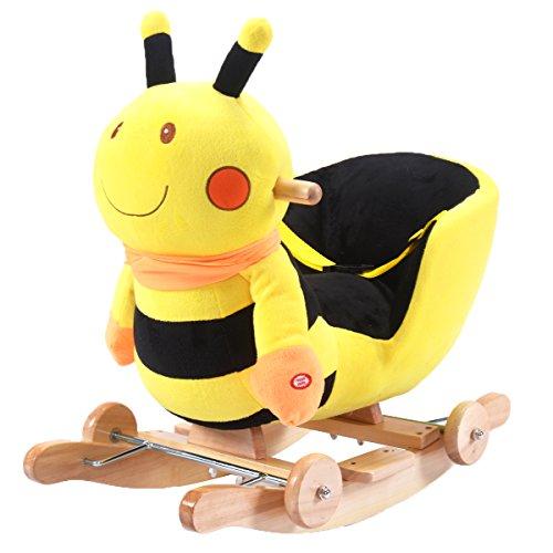 Goplus Schaukeltier Babyschaukel Plüsch Schaukelpferd mit Musik Kinderstuhl Spielzeug mit 5 Modelle (Modell 4)