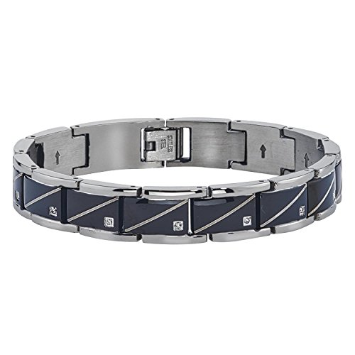 Mens Diamond Accent Diagonal Bracelet (0.10carats, HI I2-I3) by AX Jewelry