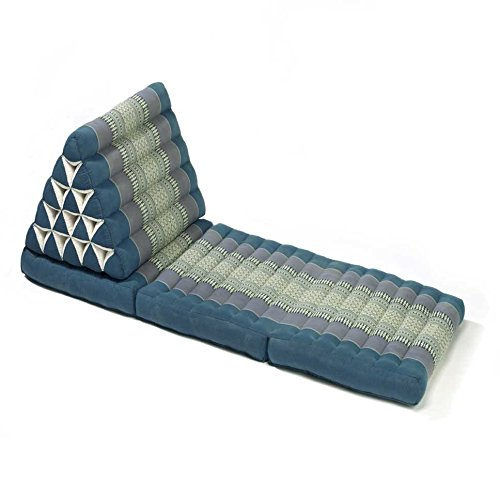 Thai style Triangle Yoga and Relaxation Lounger floor cushion Aqua by Lucy