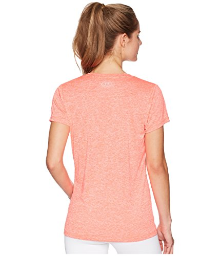 Under Armour Women's UA Tech¿ Twist V-Neck Neon Coral/Metallic Silver Small by Under Armour (Image #3)