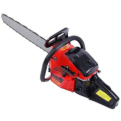 """TryE 52cc 22"""" Bar Petrol Chainsaw 2 Stroke Tree Wood Cutting Garden Gas Powered Chain Saw"""