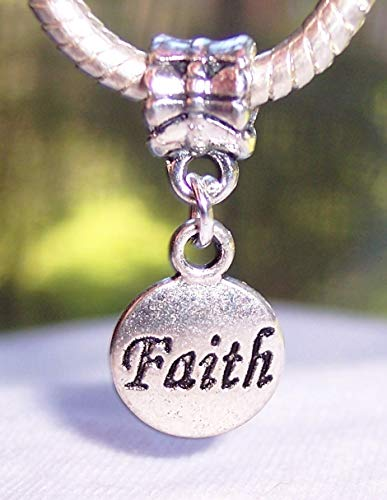 (Faith Inspirational Word Circle Dangle Charm for Silver European Bead Bracelets Jewelry Making Supply by Wholesale Charms)