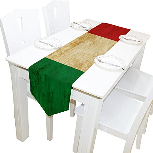 Italian Runner - ALAZA Table Runner Home Decor, Vintage Italian Flag Table Cloth Runner Coffee Mat for Wedding Party Banquet Decoration 13 x 90 inches