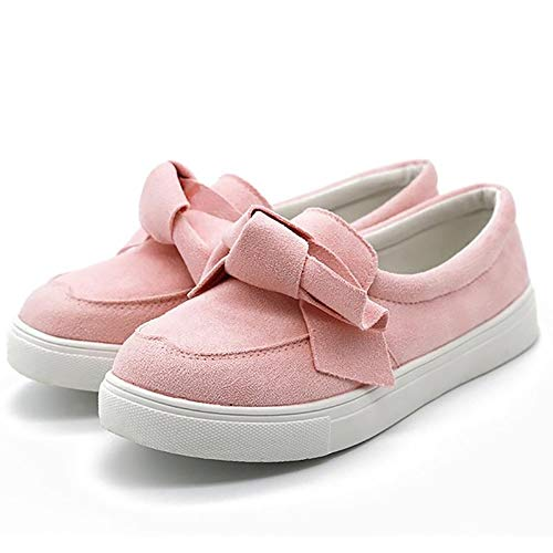 (MORNISN Women's Casual Loafers Fashion Flatform Bow Sneakers Faux Suede Slip on Flats Shoes Pink)