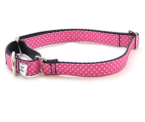 (Sunset Polka Dot Pink/Black Dog Martingale Collar (Med-3/4