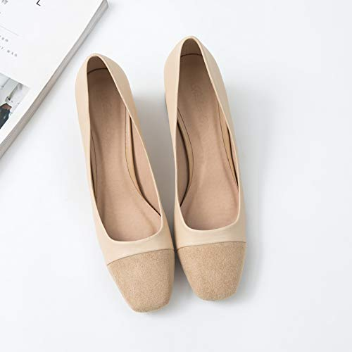 Color Autumn Women'S Square With High Matching Nude With Shoes Elegant Thick Heel Female Single Shoes High Wild Black Yukun Head heels Work xHqvtwE