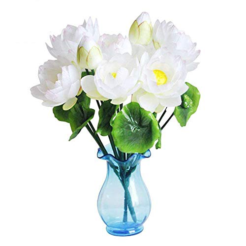 XHSP 2 Bouquets Altitude Artificial Lotus Flowers Real-touch Water Lily Home Wedding Party Decor Fabric ()