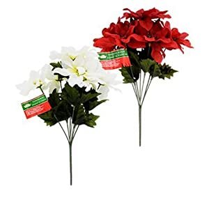 "Christmas House Poinsettia Bushes with Glittered Accents, 13"" ~ Pack of 2 (Red and White) 106"