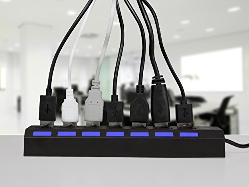 7 Port USB 2.0 Hub with Individual Power Switches and LEDs On Off Switch Design Slim Compact Lightweight Fast Communication For PC Linux Mac Windows Smarts Tvs Accessory Travel Great Price OCBAN by Ocban (Image #3)'