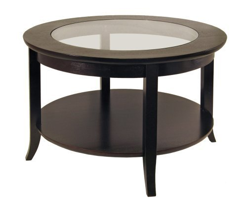 Winsome Wood Round Coffee Table, Espresso - Round Glass Inset Tall Table