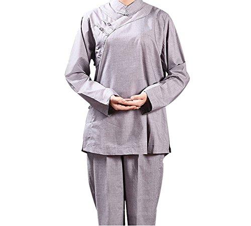 ZooBoo Monk Buddhist Costume Robes - Chinese Traditional Taoism Buddha Shaolin Thai Long Sleeve Martial Art Stand-Collar Wushu Kung Fu Pant Dress Suits Shirt Uniforms Set for Women (M, Gray)